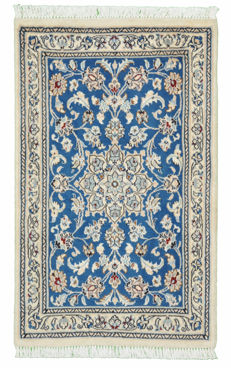 Hand-knotted Persian carpet, Nain with silk, approx. 93 x 58 cm, Iran