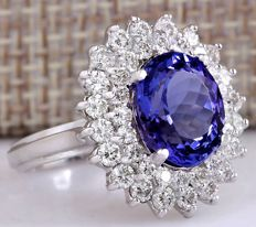 **No Reserve**-Axclusive-5.80carat Natural Tanzanite And Diamond Ring In 14K White Gold