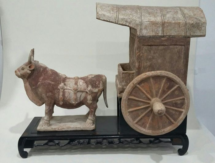 Large cart and its stunning buffalo (+ TL test) - the buffalo: 23 x 25 cm.  The cart: 27 x 27 x 20 cm.