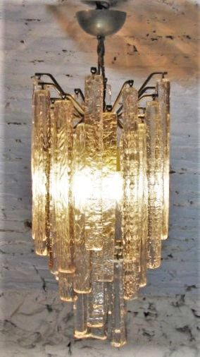 Attr. Mazzega Murano Chandelier ice effect glass (70 cm)
