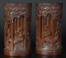 Set of antique Chinese bamboo brush pots - China - late 19th century