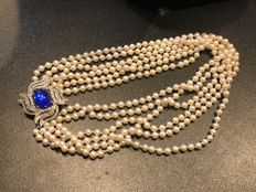Massive vintage statement simulated pearl necklace with huge amber stoned clasp
