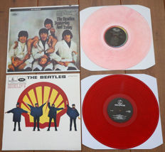 "The Beatles- Great lot of 2 limited edition lp's w. special covers: Yesterday And Today (w. butcher cover & on PINK wax) & Help! (Dutch reissue w. ""Shell"" cover, on RED wax)"