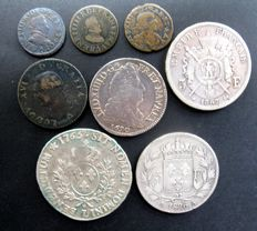 France - various coins, 1574-1867 (eight different coins), including four silver coins