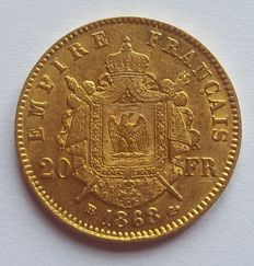 France - 20 francs - 1868 BB (Strasbourg), Napoleon III - Gold