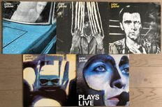 """Peter Gabriel of Genesis: lot of five original lp's including one double lp: his first FOUR self-titled lp's and """"Plays live""""(2lp)"""