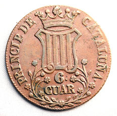 Spain - Isabel II - 6 quarters in copper - 1837 - Catalonia