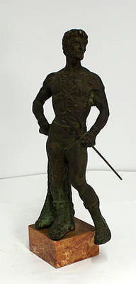 Neptune made of solid bronze - early 1900 - weight approx. 10.5 kg - on marble base