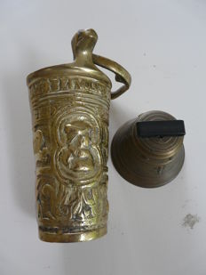 Bronze holy water bucket and copper altar bell