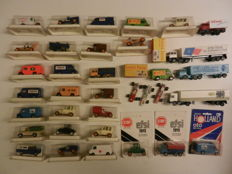 Best Box / EFSI - Scale 1/64 - Lot with 37 models: Ford, Commer, Landrover, Fiat, Mercedes, Ferrari, Honda, Lotus, DAF, Scania.