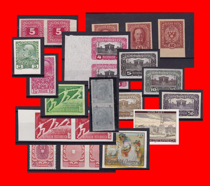 Austria - Composition of imperforate stamps, colour tests, etc.