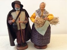 2 Beautiful large authentic Provencal Santon figurines -Nativity statues - signed M. Di LANDRO.