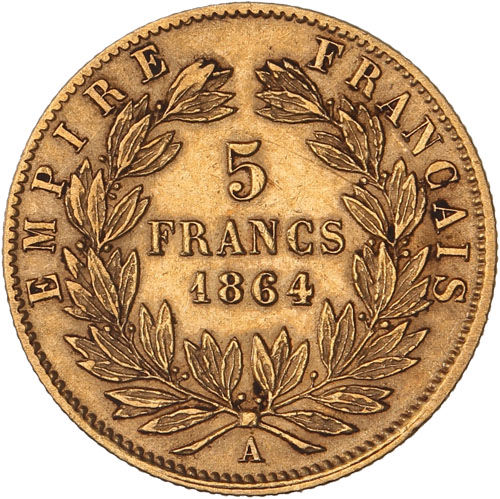 France – 5 Francs 1864 A (Paris) – Napoleon III – Gold