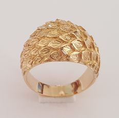 Ring of 18 kt yellow gold with leaves - Size:  17.2 mm, 14/54 (EU)
