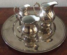 3 piece twisted silver plated inalterable porcelain coffee crammer jug &coffee cup and soucer with tray