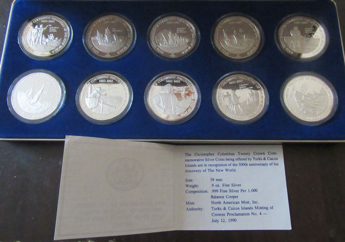 Turks and Caicos Islands - Case of 10 coins 'Christopher Colombus 500th anniversary 1492-1992' - 9 oz silver.