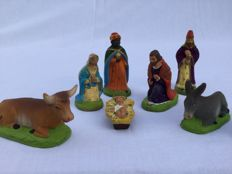 Eight beautiful authentic Provencal Santons figurines _ Nativity scene figurines__CARBONEL