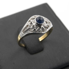 18 kt bi-colour gold - Cocktail ring - Diamond 0.25 ct - Sapphire 0.30 ct - Ring size 13 (Spain)