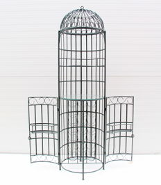 Large wrought iron wine rack in cage/dome shape
