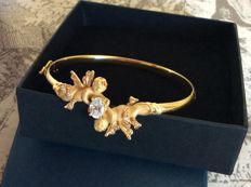 Bangle bracelet in 18kt gold 13 g with zirconiums - size 5.7 times 5.0