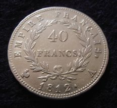 France - 40 Francs 1812 A (Paris) - Napoléon I - Gold.