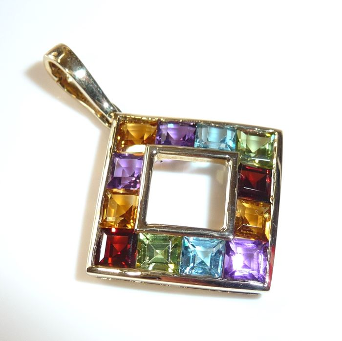 Clip-on pendant made of 9 kt / 375 gold with 10 rectangular gemstones in the colours of the rainbow **no reserve price**