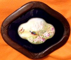 "A late 19th Century french ,  ""bleu de roi"" , porcelain  , tray , hand painted with a pheasant in the gardens , with wooden frame"