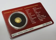 500 Chicken people's republic of Laos 2013 gold coin