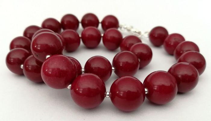 Necklace of 14 mm Rubellites - Natural shine - silver bead to separate the stones - 925 silver clasp