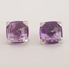 18 kt - Square white gold earrings with amethysts - Length: 10 x 10 mm