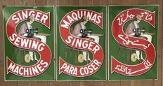 "Set of 3 old enamel plates ""1930"" SINGER 60x40cm"