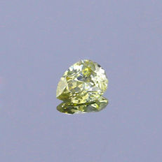 Fancy Greyish Yellowish Green Diamond 0.39 ct. Pear shape Diamond, GIA certified