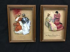 "Two framed French fashion ads ""la Mode pour tous"" and ""la nouveauté"""