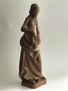 Hand carved wooden sculpture - lady - Germany - 1st half / middle 20th century - with a label