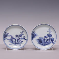 A pair of blue and white porcelain plates, Nanking cargo - China - mid 18th century