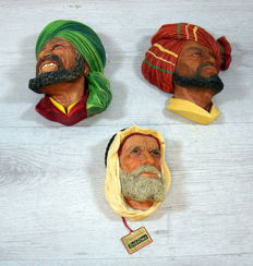 Collection of 3D Bossons Kurd hand painted wall statues 3 x