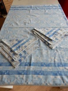 Old and beautiful square tablecloth 100% linen cotton mix - sky blue - Royal blue - 6 large napkins - France