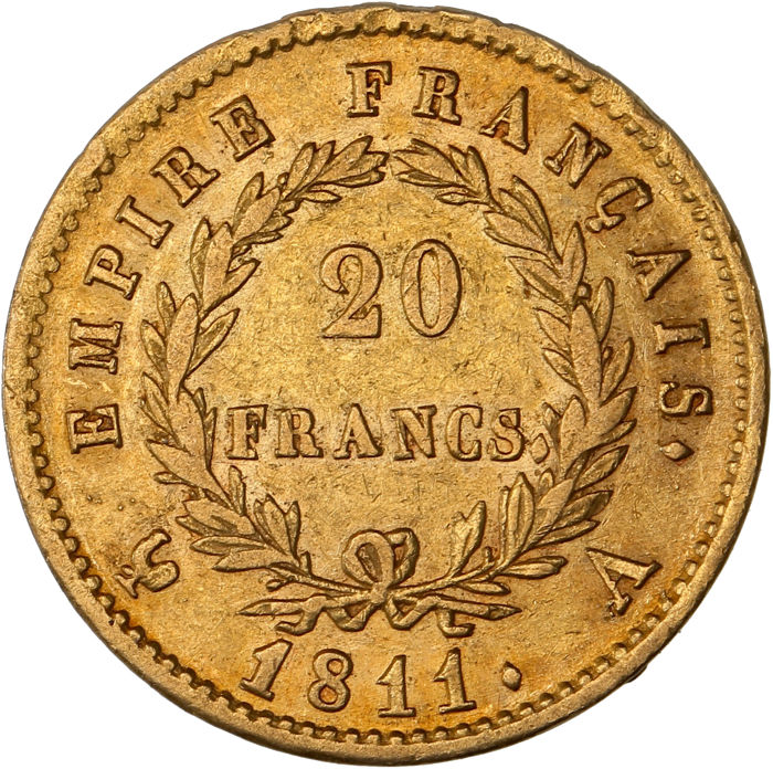 France – 20 Francs 1811 A (Paris) Napoleon I – Gold