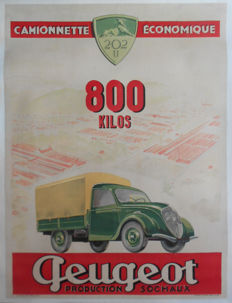 Peugeot 202u Production Sochaux - French original poster - 1940