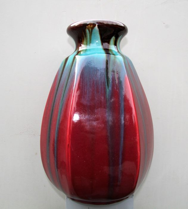 Faïencerie de Thulin - Large Art Deco vase with dripping glaze