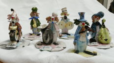 Zampiva - 6 musical clown figures - Italian ceramic, handmade and painted