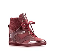 *LOUIS VUITTON Bordeaux Monogram Suede Leather Cliff Top Wedge Sneakers *