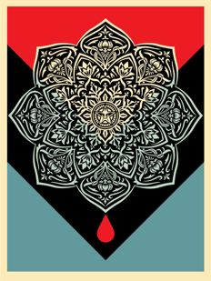 Shepard Fairey (OBEY) - Blood & Oil Mandala: Blood Drop Edition (+ 5 original stickers)