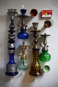 A lot of 5 vintage and new handmade water pipes (Iran)