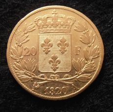 France - 20 Francs 1820 A (Paris) - Louis XVIII - Gold.