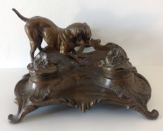 Babbitt inkwell with animal decors