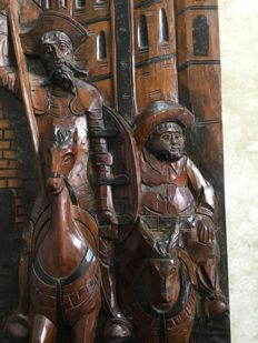 Book objects; Wooden plaque of Don Quixote and Sancho Panza - 2nd half 20th century