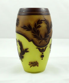 J. Michel Paris - Vase in glass with acid-etched decorations.
