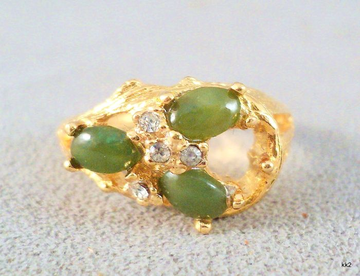 Vintage 1970s - Swoboda style Ring in bright vermeil with genuine Gemstones and Diamante accents
