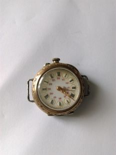 rare pocket watch of the 'Poilu' can turn into wrist watch, gold and silver and works